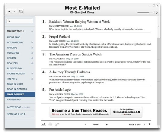 Most emailed news articles in the New York Times Reader