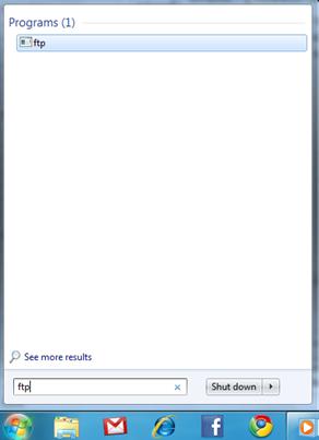 Windows 7 start menu searching ftp