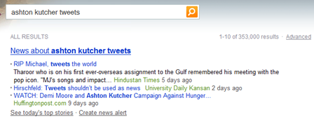 Ashton Kutcher Tweets Bing