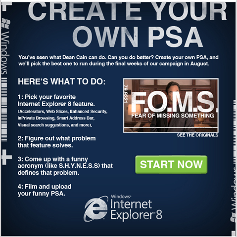 Create your own Public Service Ad for Internet Explorer 8