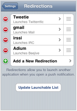 Push notifications Prowl Redirection for Applications
