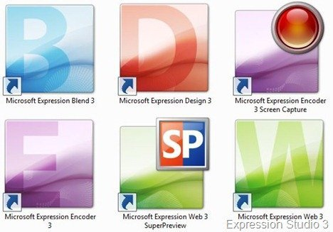 Expression Studio 3 application icons