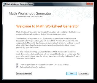 Math Worksheet Generator Setup