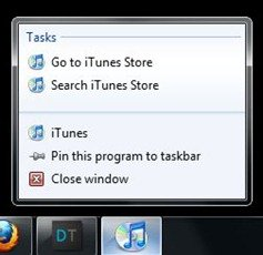 iTunes 9 jump list support for Windows 7