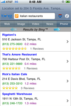 Search using Bing on your iPhone/iPod Touch through bingGo