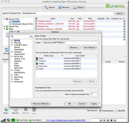 LimeWire5.4.0OptionWindow