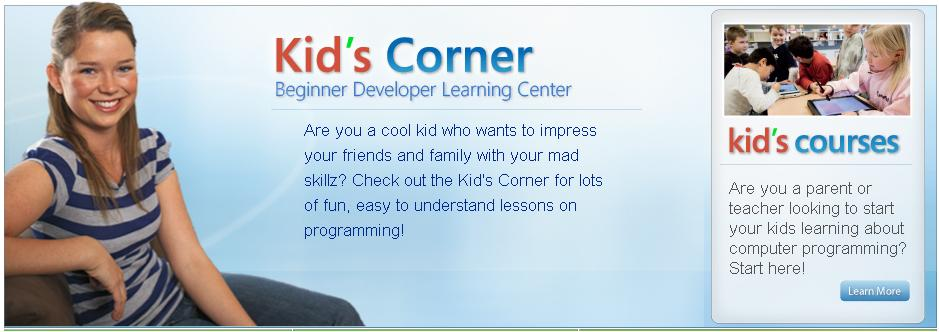 Microsoft launches a website for young guns calld Kid's Corner website