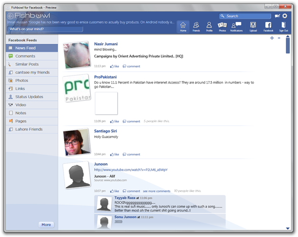 Fishbowl – Facebook Desktop Client optimized for Windows 7