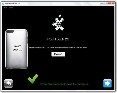 How to jailbreak iPod Touch firmware 3.1.2 with Sn0wbreeze 6