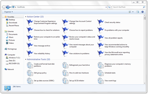 Windows 7 GodMode