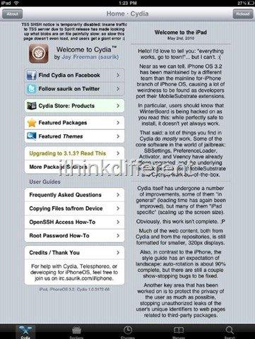 Cydia on iPad