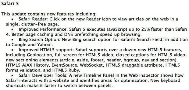 Apple Safari 5 web browser changelog.jpg