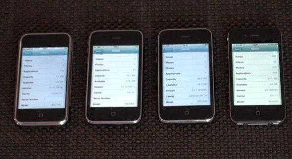 iPhone 2G 3G 3GS 4 Speed Comparison