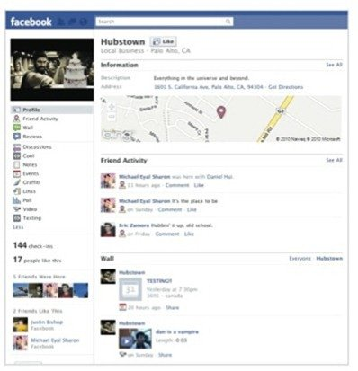 Facebook Pages with Places