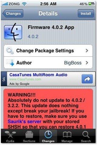 Firmware 4.0.2 Spoof App Cydia iPhone Jailbreak
