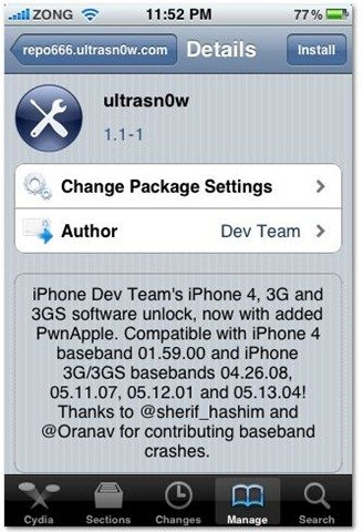 unlock iPhone 3G iOS 4.0.2 with ultrasn0w 1.1-1