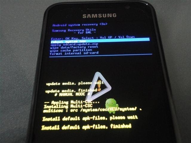 Samsung Galaxy S with Android 2.2 Upgrade Recovery Mode