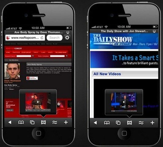 SkyFire for iPhone plays Flash Videos