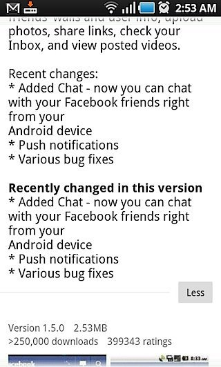 Facebook 1.5 for Android