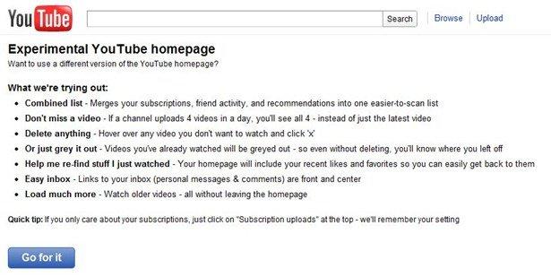New YouTube Homepage 2