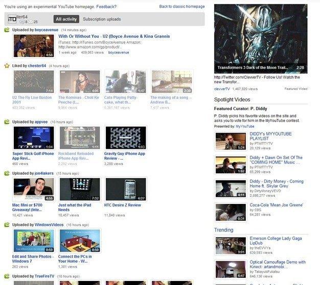New YouTube Homepage 3