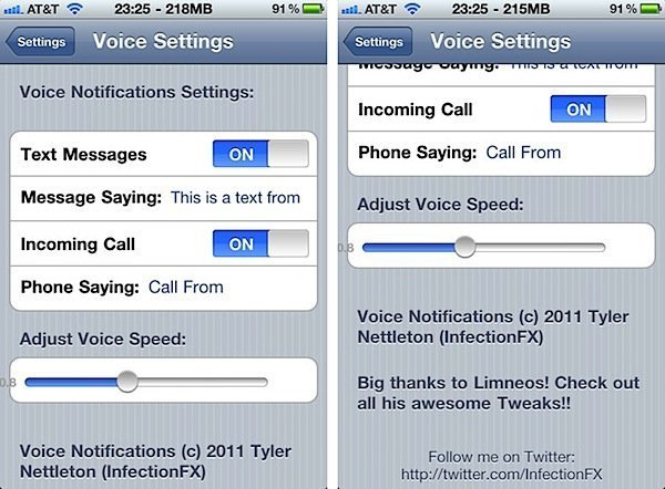Voice notifications Jailbreak Tweak for iPhone/iOS
