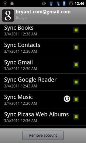 Google Sync Music Honeycomb Android