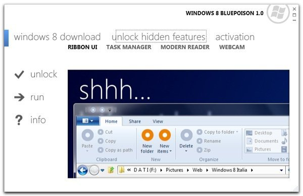 Unlock Hidden Windows 8 Features Using Bluepoison!