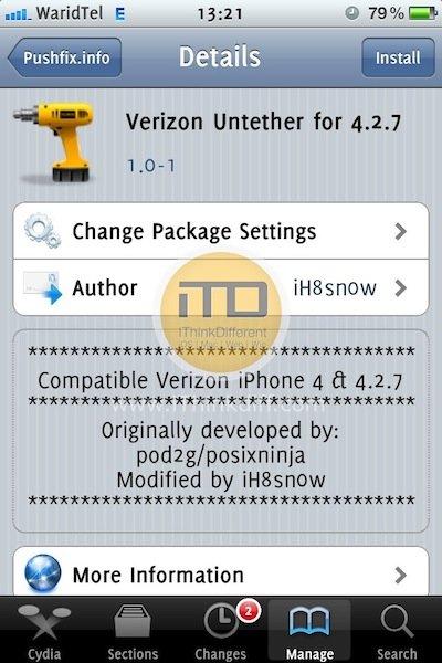 Jailbreak Verizon iPhone 4 On iOS 4.2.7 Untethered With Sn0wbreeze 2.6.1 [Tutorial]