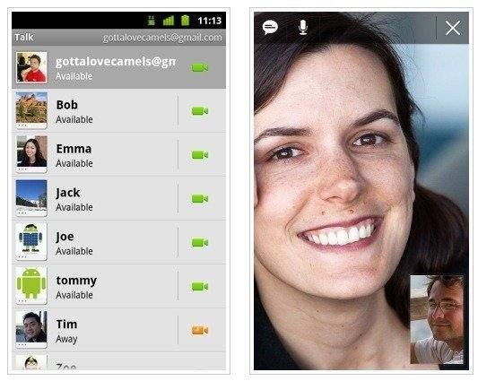 Google Talk Video Chat on Android 2.3.4