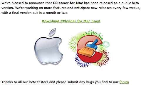 Piriform Releases first Beta of CCleaner for Mac today