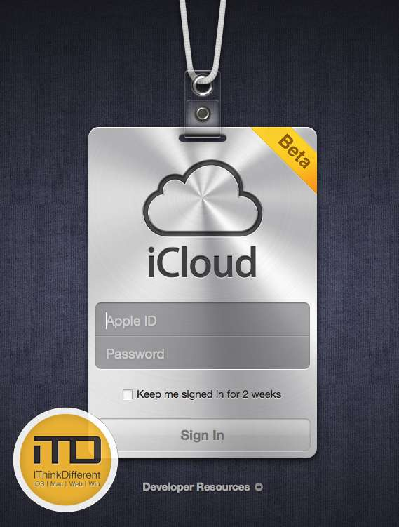 iCloud.com beta loginwtmk