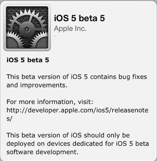iOS 5 Beta 5 for Developer