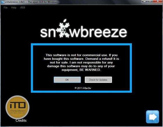 sn0wbreeze 2.8b5 for iOS 5 b5wtmk