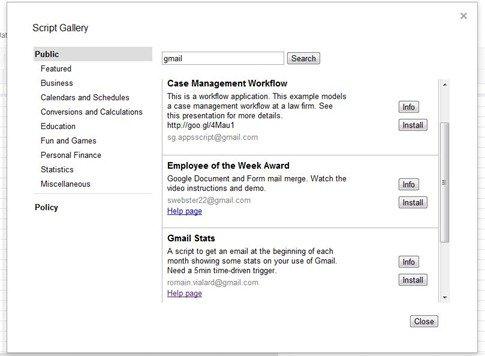 Google Docs Script Gallery