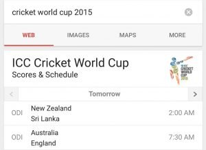 Google App for Cricket World Cup 2015