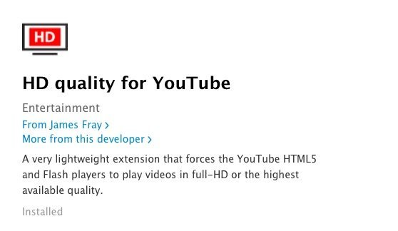 Safari HD Quality for YouTube