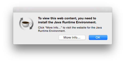Get rid of the Java Runtime Environment Pop Up in OS X 10.10. and 10.11