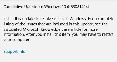 First Major Windows 10 Cumulative Update KB3081424 Rolling Out To Users 1