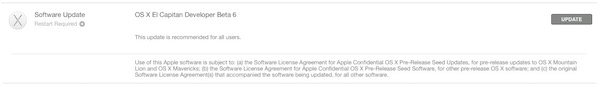 OS X 10.11 Beta 6 Released For Developers