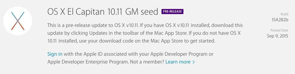 OS X 10.11 El Capitan GM