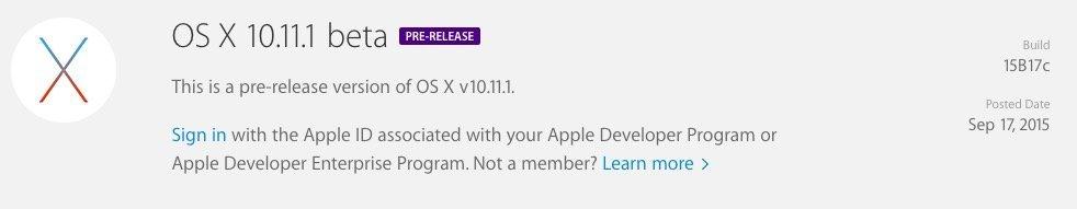 OS X 10.11.1 beta