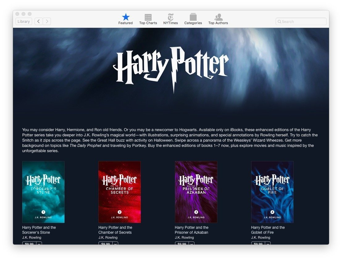Harry Potter Series gets enhanced editions for iBooks