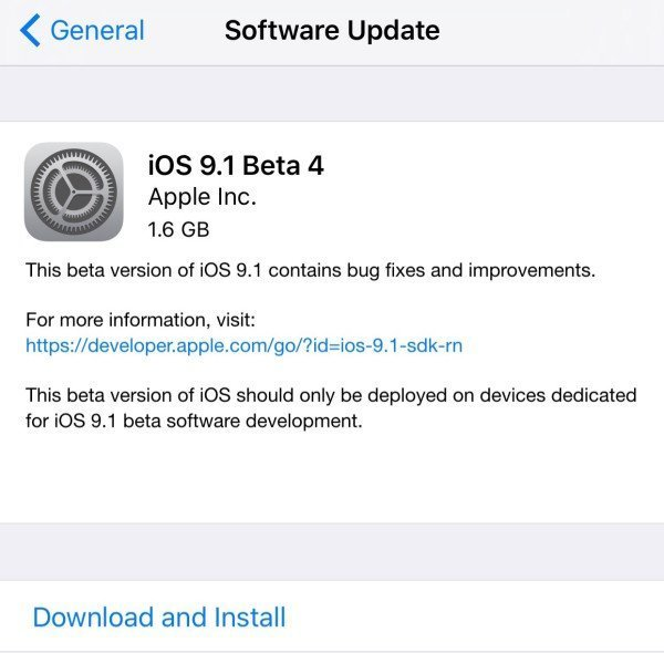 iOS 9.1 beta 4 now available for download