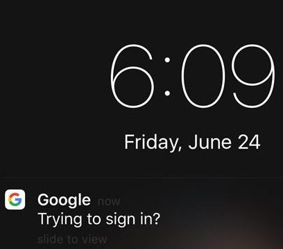 Google Promot notification on iPhone