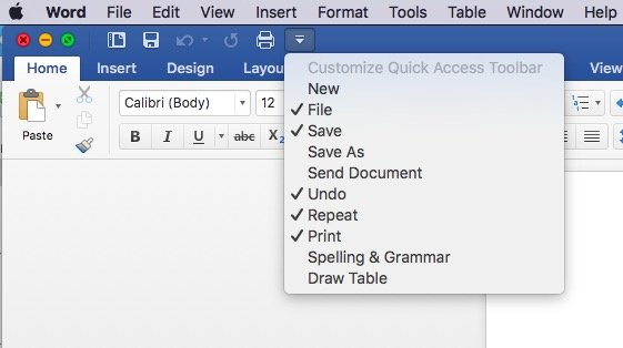 Quick access toolbar customization in Office for Mac