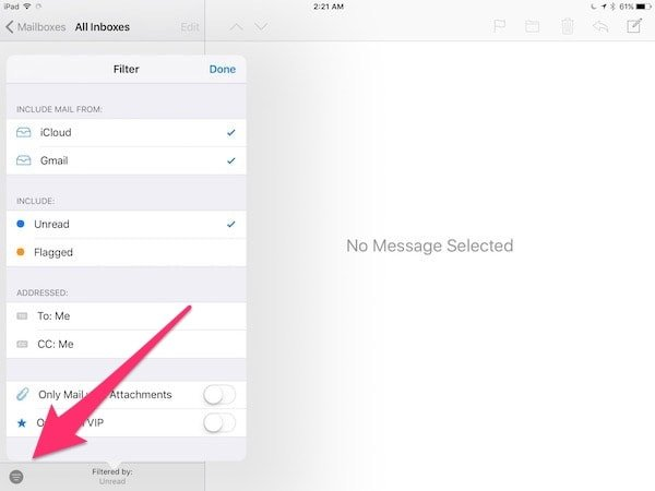 iOS 10 Mail app filter button