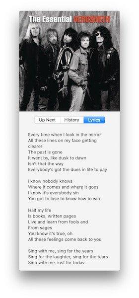 Apple Music lyrics in iTunes