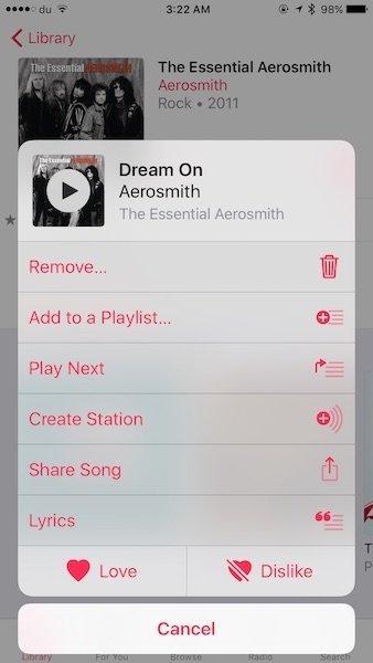 Lyrics in iOS 10 Apple Music 4