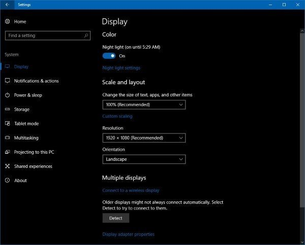 Night light in Windows 10 Setting